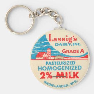 Vintage Milk Bottle Cap Keychain