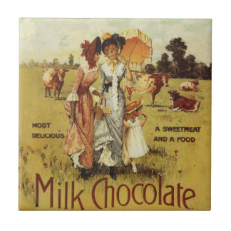 Vintage Milk Chocolate Cow Party Tile