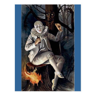 Vintage mime scary darl forest tree post cards