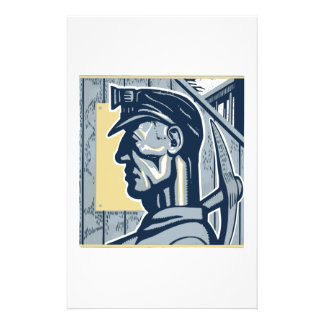 Vintage Miner Art Customized Stationery