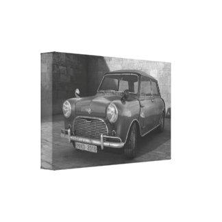 Vintage Mini Cooper black and white retro canvas