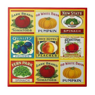 """Vintage Miniature Can Labels Ceramic Tiles 4.25"""""""