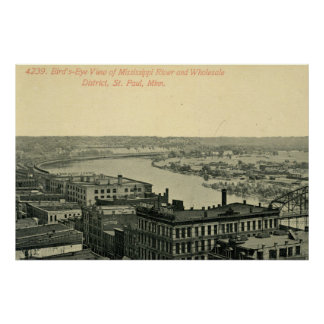 Vintage Minneapolis Minnesota River Skyline Poster