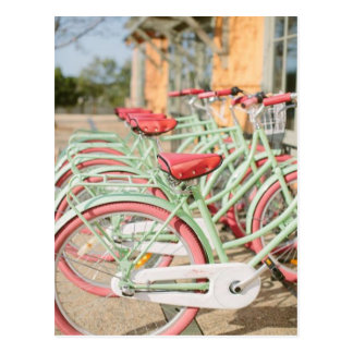 Vintage Mint and Pink Bike Postcard