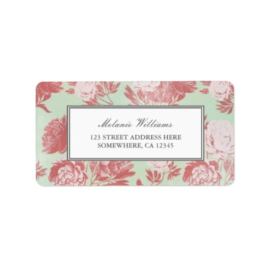 Vintage Mint Coral Peonies Floral Address Labels
