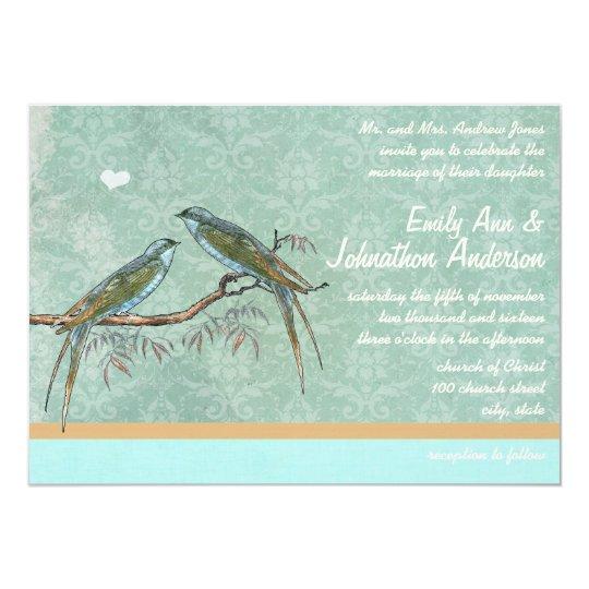Vintage Mint Green Love Bird Damask Wedding Invite