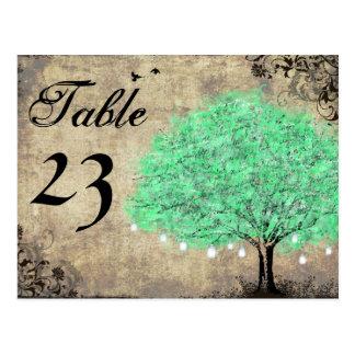 Vintage Mint Green Mason Jar in Tree Table Numbers Postcard