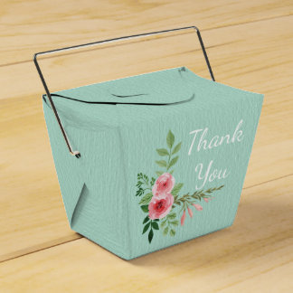 Vintage Mint Green Thank You Pink Rose Flowers Party Favour Boxes