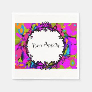 """Vintage_Mirror_""""Bon Appétit_Floral_Celebration Disposable Serviette"""