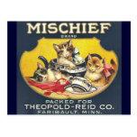 Vintage Mischief Brand Label Postcards
