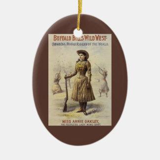Vintage Miss Annie Oakley, Western Cowgirl Ceramic Oval Decoration