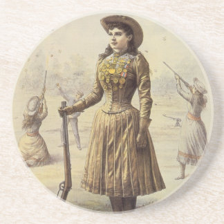 Vintage Miss Annie Oakley, Western Cowgirl Coaster