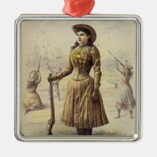 Vintage Miss Annie Oakley, Western Cowgirl Silver-Colored Square Decoration