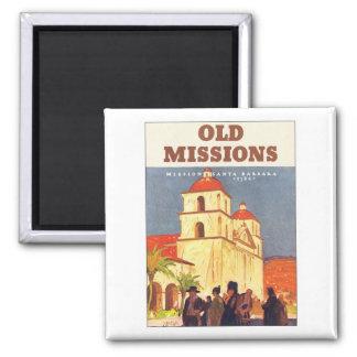 Vintage Missions Santa Barbara Square Magnet