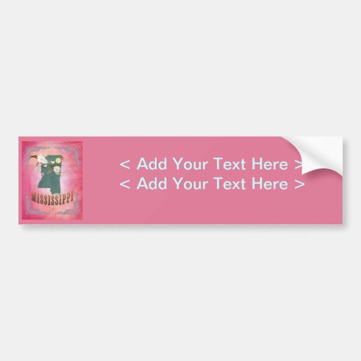 Vintage Mississippi State Map- Candy Pink Bumper Stickers