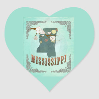 Vintage Mississippi State Map – Turquoise Blue Heart Sticker