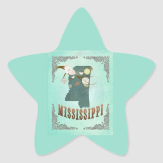 Vintage Mississippi State Map – Turquoise Blue Star Sticker