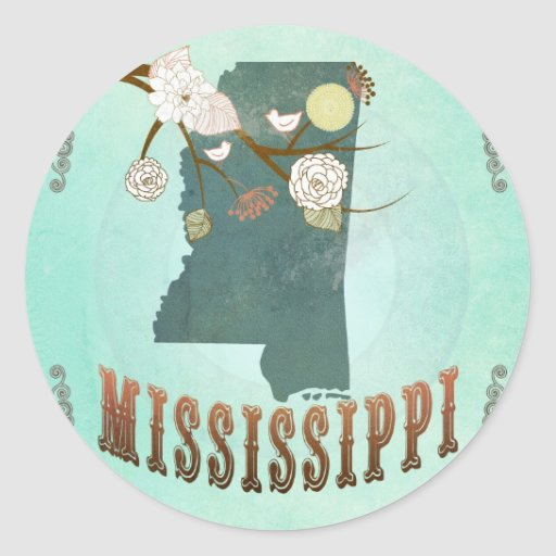 Vintage Mississippi State Map – Turquoise Blue Round Stickers