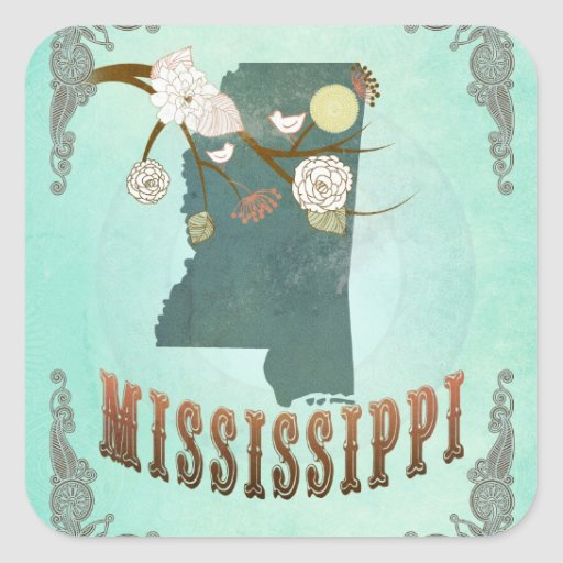 Vintage Mississippi State Map – Turquoise Blue Square Sticker