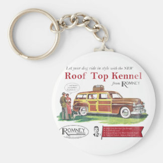 Vintage Mitt Romney Dog Retro Ad Basic Round Button Key Ring