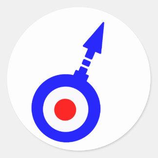 Vintage Mod target with Degree Arrow Round Sticker