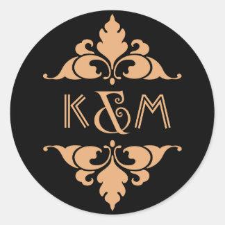 Vintage Modern Art Deco Gold & Black Monogram Round Sticker