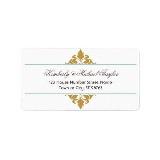 Vintage Modern Art Deco Mint & Gold Wedding Address Label