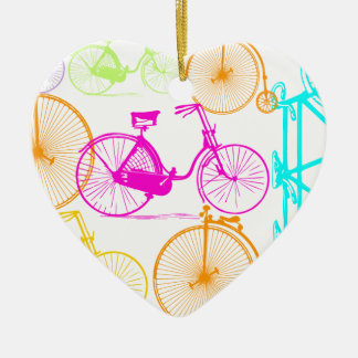 Vintage Modern Bicycle Bright Color Neon Pattern Ceramic Heart Decoration