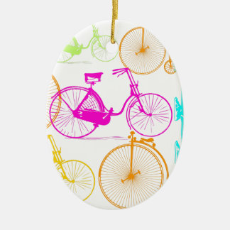 Vintage Modern Bicycle Bright Color Neon Pattern Ceramic Oval Decoration