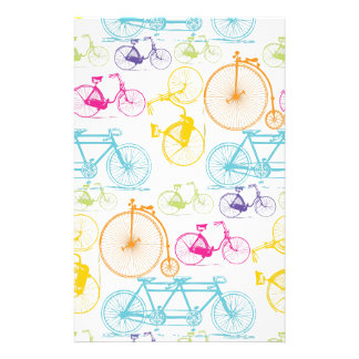 Vintage Modern Bicycle Bright Color Neon Pattern Personalized Stationery