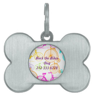 Vintage Modern Bicycle Bright Color Neon Pattern Pet ID Tag