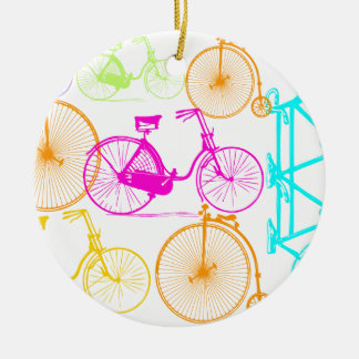 Vintage Modern Bicycle Bright Color Neon Pattern Round Ceramic Decoration