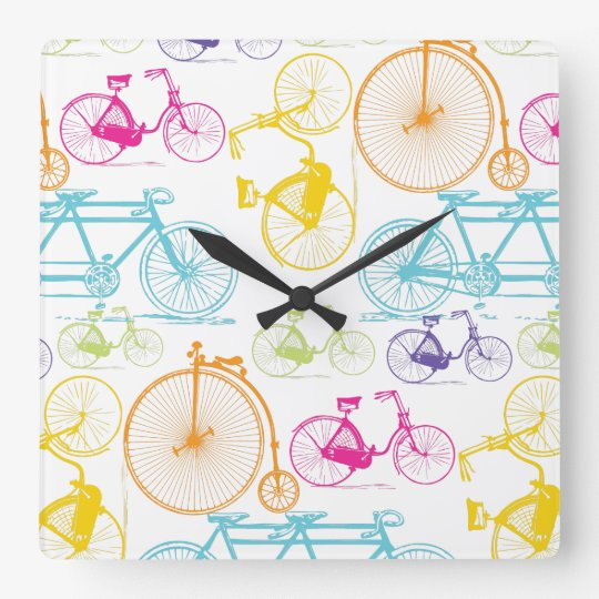 Vintage Modern Bicycle Bright Colour Retro Pattern Square