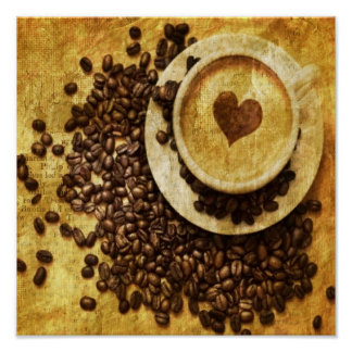 vintage modern coffee beans cappuccino heart posters