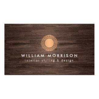 Vintage Modern Copper Sun Logo on Dark Wood Pack Of Standard Business Cards