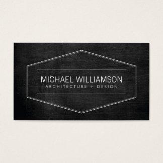 Vintage Modern Emblem Black Wood Architect, Build Business Card