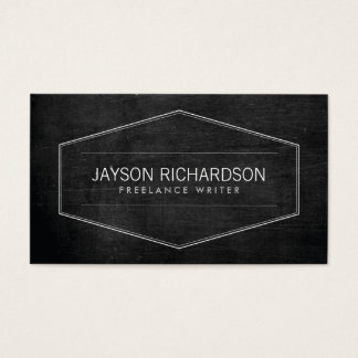 Vintage Modern Emblem on Black Wood Business Card