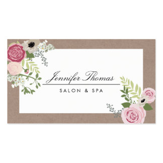 Vintage Modern Floral Motif Beauty Salon Double-Sided Standard Business Cards (Pack Of 100)