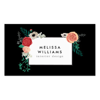 Vintage Modern Floral Motif on Black Designer Pack Of Standard Business Cards
