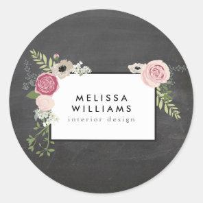 Vintage Modern Floral Motif on Chalkboard Classic Round Sticker