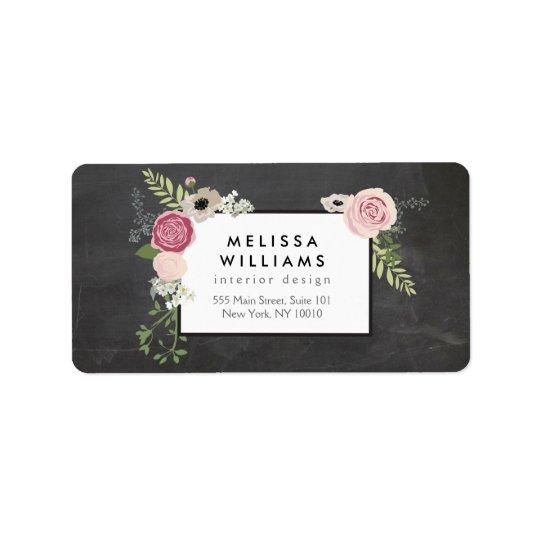 Vintage Modern Floral Motif on Chalkboard Designer Address Label