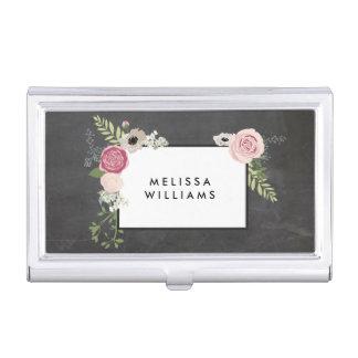Vintage Modern Floral Motif on Chalkboard Designer Business Card Holder