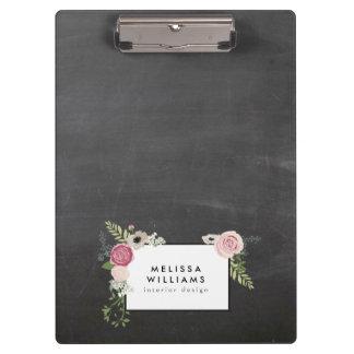Vintage Modern Floral Motif on Chalkboard Designer Clipboard