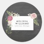 Vintage Modern Floral Motif on Chalkboard Round Sticker