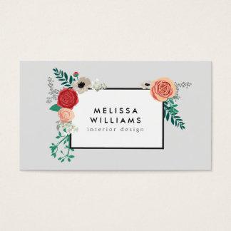 Vintage Modern Floral Motif on Gray Designer Business Card