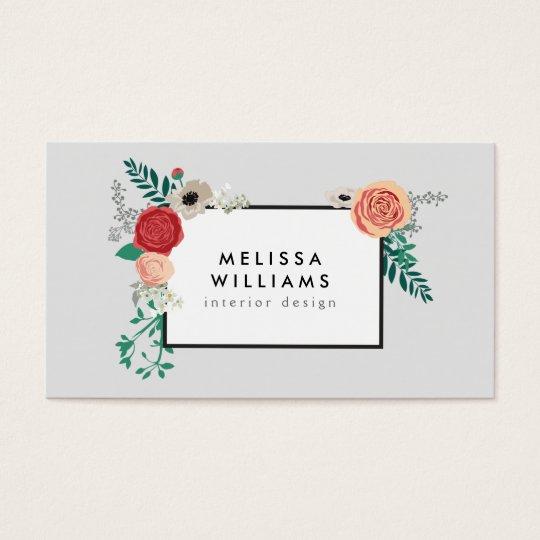 Vintage Modern Floral Motif on Grey Designer Business Card