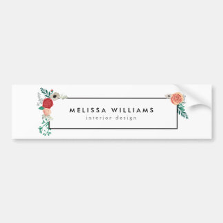 Vintage Modern Floral Motif on White Bumper Sticker