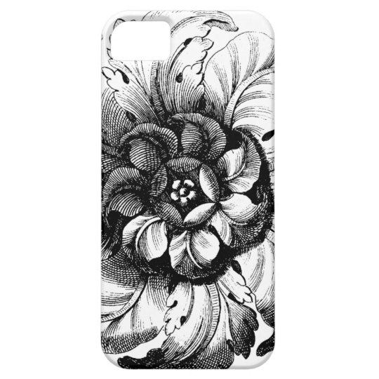 Vintage Modern Flower Design in Black and White Barely There iPhone 5 Case