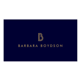 VINTAGE MODERN GOLD and NAVY INITIAL MONOGRAM LOGO Pack Of Standard Business Cards