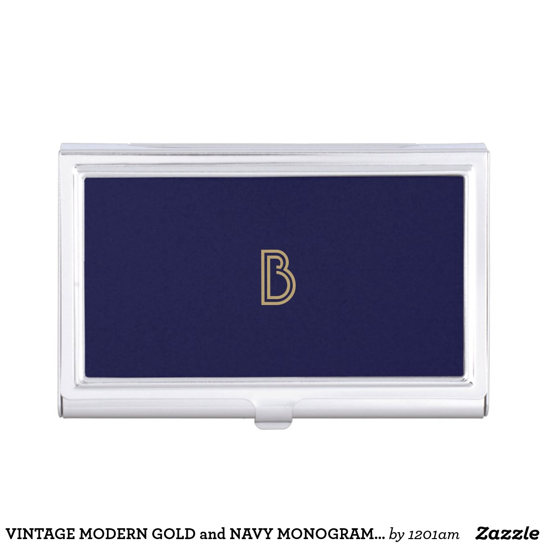 VINTAGE MODERN GOLD and NAVY MONOGRAM Card Case